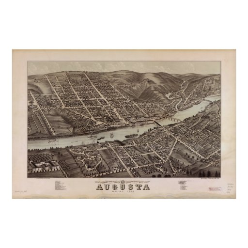 Mapa ilustrado del vintage de Augusta Maine (1878) Poster