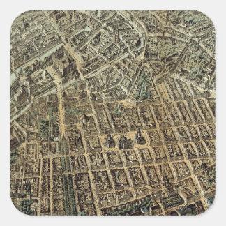 Mapa ilustrado del vintage de Berlín (1871) Calcomania Cuadradas Personalizada