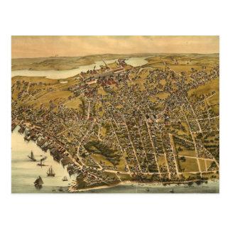 Mapa ilustrado del vintage de Beverly mA (1886) Tarjetas Postales