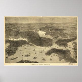 Mapa ilustrado del vintage de Boston (1870) Posters