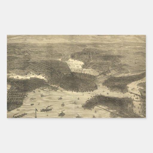 Mapa ilustrado del vintage de Boston (1870) Pegatina Rectangular