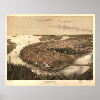 Mapa ilustrado del vintage de Boston (1877) Posters