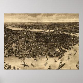 Mapa ilustrado del vintage de Boston (1905) (2) Poster