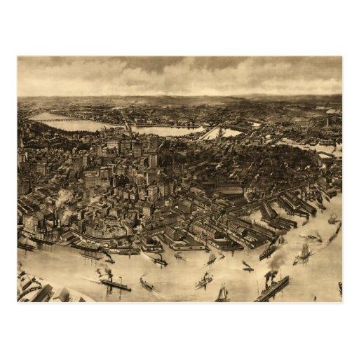 Mapa ilustrado del vintage de Boston (1905) (2) Postal