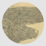 Mapa ilustrado del vintage de Brooklyn NY (1897) Pegatina Redonda
