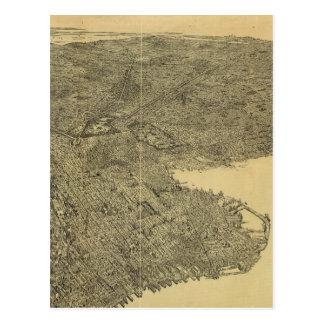 Mapa ilustrado del vintage de Brooklyn NY (1897) Postales