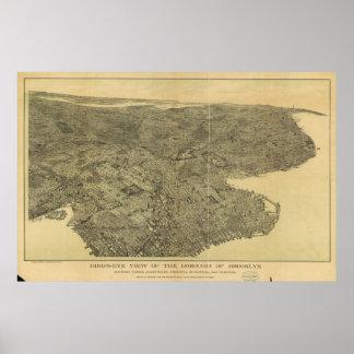 Mapa ilustrado del vintage de Brooklyn NY (1897) Póster