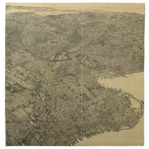 Mapa ilustrado del vintage de Brooklyn NY (1897) Servilleta