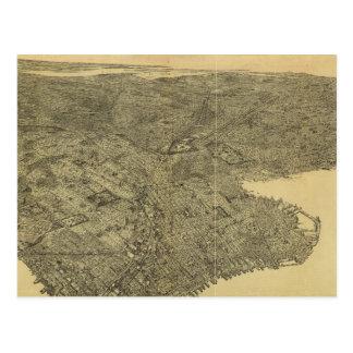 Mapa ilustrado del vintage de Brooklyn NY (1897) Postal