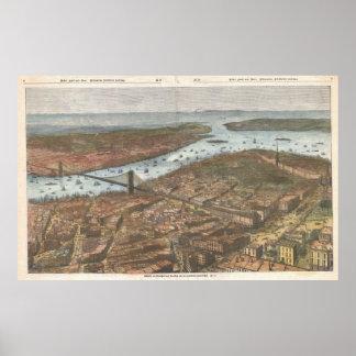 Mapa ilustrado del vintage de Brooklyn y de NYC Póster