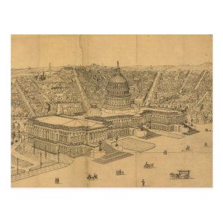 Mapa ilustrado del vintage de C.C. de Washington ( Tarjeta Postal