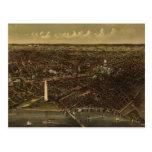 Mapa ilustrado del vintage de C.C. de Washington ( Tarjetas Postales