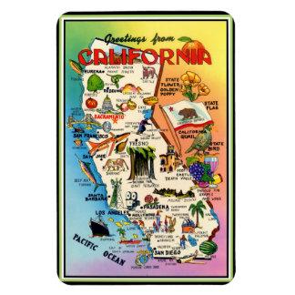 Mapa ilustrado del vintage de California Imán Foto Rectangular