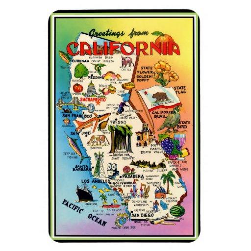 Mapa ilustrado del vintage de California Imanes