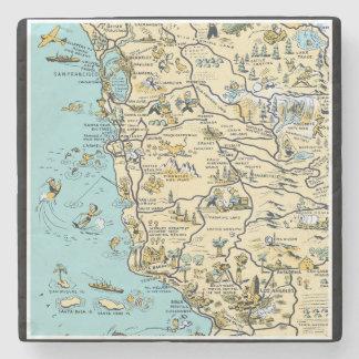 Mapa ilustrado del vintage de California Posavasos De Piedra