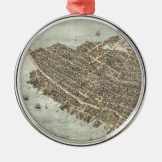 Mapa ilustrado del vintage de Charleston (1872) Adorno Navideño Redondo De Metal