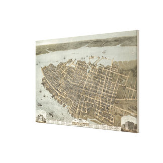 Mapa ilustrado del vintage de Charleston (1872) Impresión En Lona