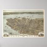 Mapa ilustrado del vintage de Charleston (1872) Poster