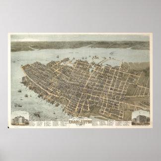 Mapa ilustrado del vintage de Charleston (1872) Póster