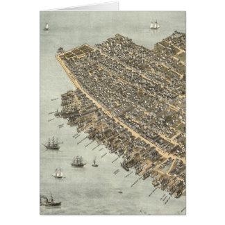 Mapa ilustrado del vintage de Charleston (1872) Tarjeta De Felicitación