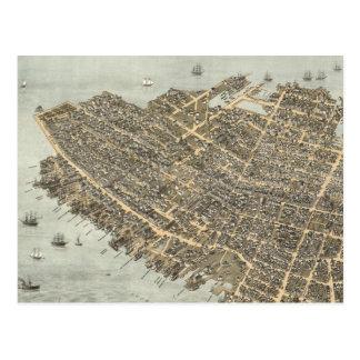 Mapa ilustrado del vintage de Charleston (1872) Tarjetas Postales