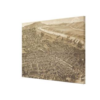 Mapa ilustrado del vintage de Chattanooga (1886) Impresión En Lona Estirada