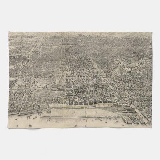 Mapa ilustrado del vintage de Chicago (1916) Toallas De Mano