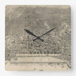 Mapa ilustrado del vintage de Chicago (1916) Relojes De Pared