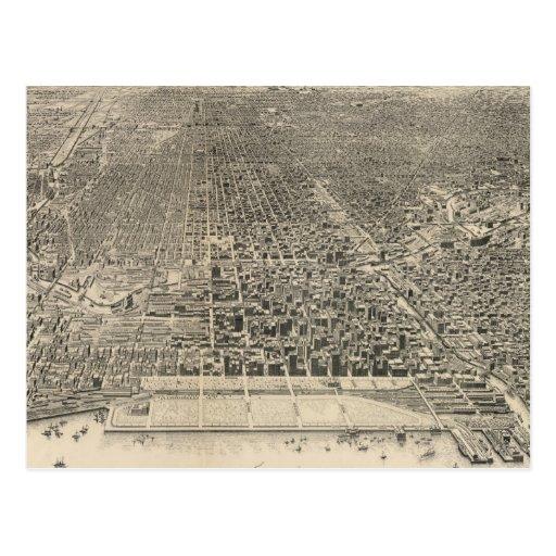 Mapa ilustrado del vintage de Chicago (1916) Tarjetas Postales