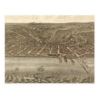 Mapa ilustrado del vintage de Cleveland (1877) Postal