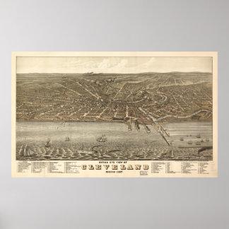 Mapa ilustrado del vintage de Cleveland (1877) Póster