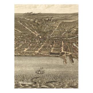 Mapa ilustrado del vintage de Cleveland (1877) Tarjetas Postales