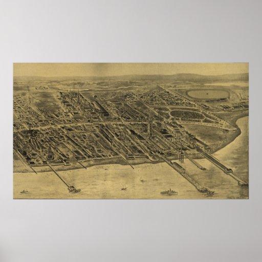 Mapa ilustrado del vintage de Coney Island (1906) Impresiones