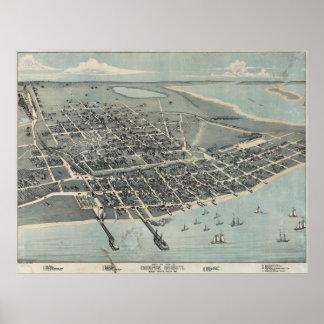 Mapa ilustrado del vintage de Corpus Christi TX Póster