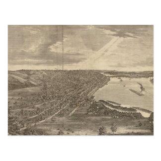 Mapa ilustrado del vintage de Davenport Iowa Tarjetas Postales
