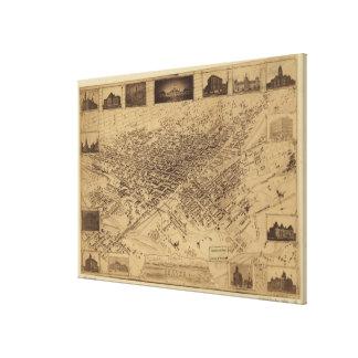 Mapa ilustrado del vintage de Denver CO (1881) Impresión En Lienzo