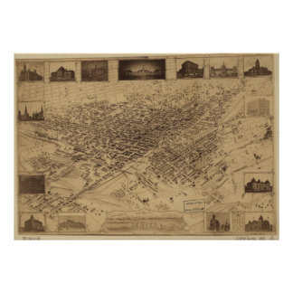 Mapa ilustrado del vintage de Denver CO (1881) Póster