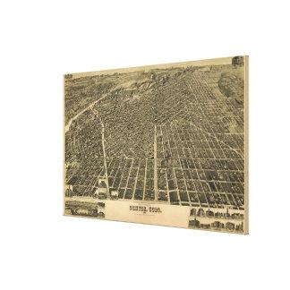 Mapa ilustrado del vintage de Denver CO (1889) Impresión En Lienzo
