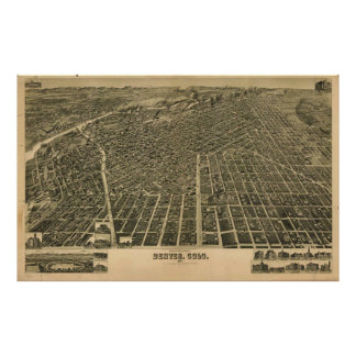 Mapa ilustrado del vintage de Denver CO (1889) Impresiones
