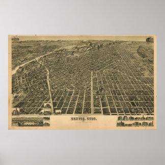 Mapa ilustrado del vintage de Denver CO (1889) Póster
