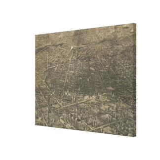 Mapa ilustrado del vintage de Denver Colorado (188 Impresión En Lienzo