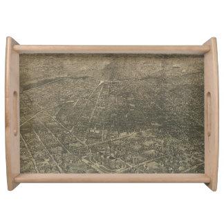 Mapa ilustrado del vintage de Denver Colorado Bandejas