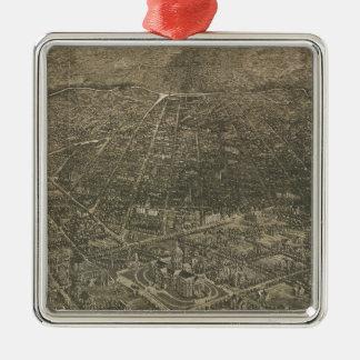 Mapa ilustrado del vintage de Denver Colorado Adorno Cuadrado Plateado