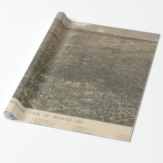 Mapa ilustrado del vintage de Denver Colorado Papel De Regalo