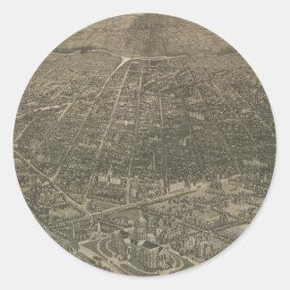 Mapa ilustrado del vintage de Denver Colorado Pegatina Redonda