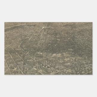 Mapa ilustrado del vintage de Denver Colorado Pegatina Rectangular