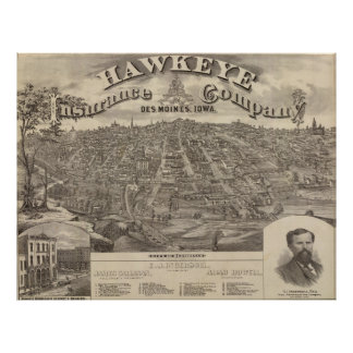 Mapa ilustrado del vintage de Des Moines Iowa Póster