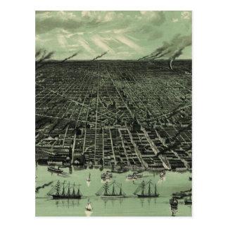 Mapa ilustrado del vintage de Detroit Michigan Postal