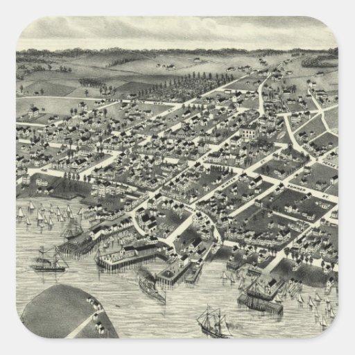 Mapa ilustrado del vintage de Edgartown mA (1886) Colcomanias Cuadradass