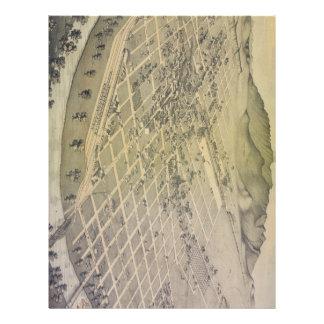 Mapa ilustrado del vintage de El Paso Tejas (1886) Plantilla De Membrete